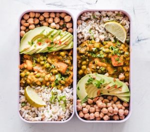 Healthy meal prep idea: pack your lunch the night before and take it to work. Chickpeas, veggies, and rice make a delicious lunch.